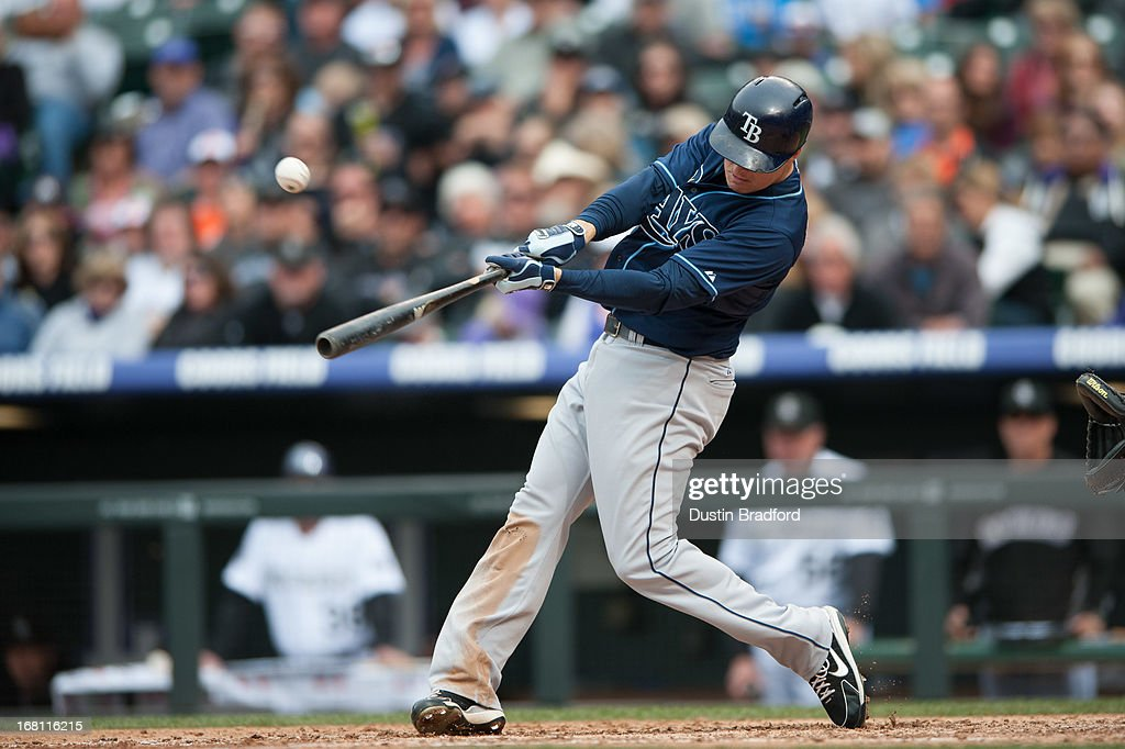 Kelly Johnson #2 of the Tampa Bay Rays hits a double and drives in a run in the sixth inning of a game against the Colorado Rockies at Coors Field on May 5, 2013 in Denver, Colorado.