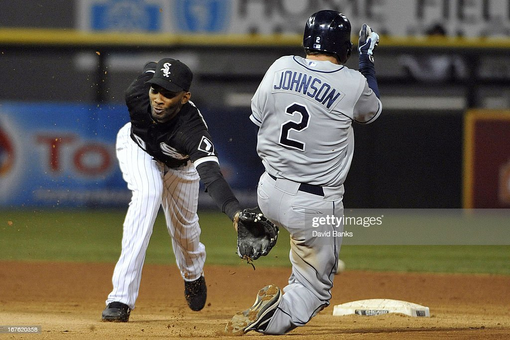 Kelly Johnson #2 of the Tampa Bay Rays steals second base as <a gi-track='captionPersonalityLinkClicked' href=/galleries/search?phrase=Alexei+Ramirez&family=editorial&specificpeople=690568 ng-click='$event.stopPropagation()'>Alexei Ramirez</a> #10 of the Chicago White Sox takes the throw during the fourth inning on April 26, 2013 at U.S. Cellular Field in Chicago, Illinois.