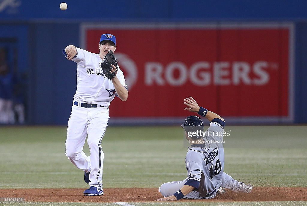 Kelly Johnson #2 of the Toronto Blue Jays turns a double play in the sixth inning during MLB game action as <a gi-track='captionPersonalityLinkClicked' href=/galleries/search?phrase=Ben+Zobrist&family=editorial&specificpeople=2120037 ng-click='$event.stopPropagation()'>Ben Zobrist</a> #18 of the Tampa Bay Rays slides on August 30, 2012 at Rogers Centre in Toronto, Ontario, Canada.