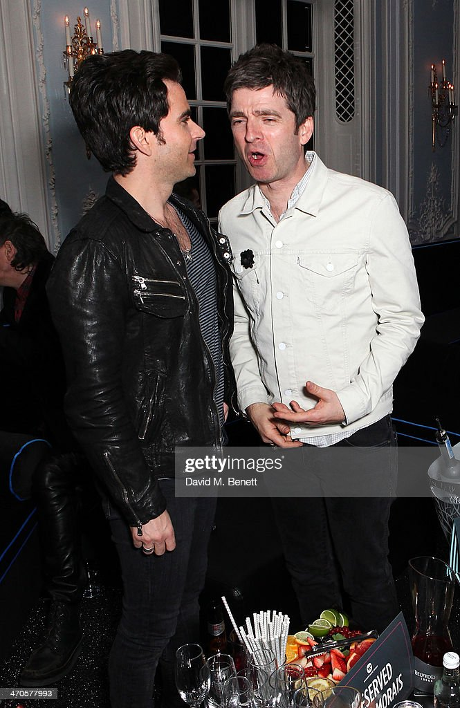 Kelly Jones and Noel Gallagher are seen at Warner & Belvedere Post BRIT Awards party at The Savoy Hotel on February 19, 2014 in London, England.