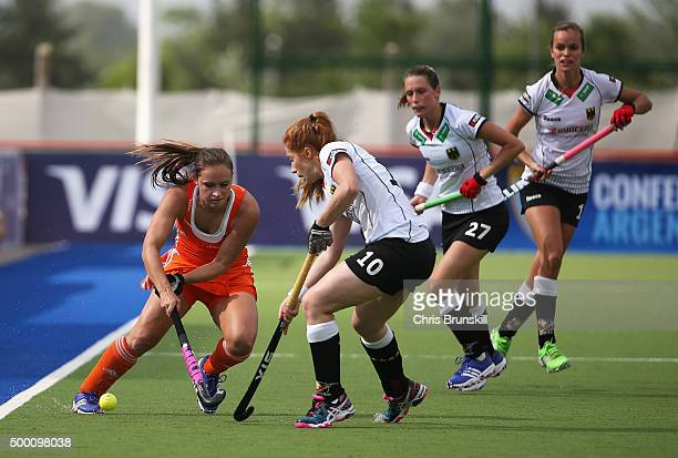 Kelly Jonker of the Netherlands takes on Nina Hasselmann of Germany during the Hockey World League Final Pool A match between the Netherlands and...