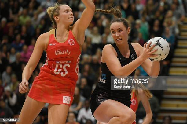 Kelly Jury of New Zealand in action during the International Test match between the New Zealand Silver Ferns and the England Roses at Pettigrew Green...