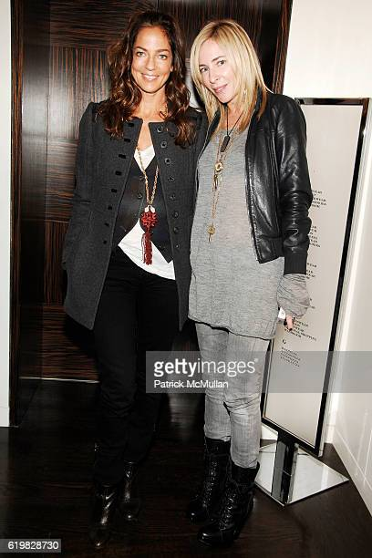 Kelly Klein and Lauryn Flynn attend Burberry and Men's Vogue Celebrate the Launch of Estate 1127 by Peter Saville at Burberry on October 1 2008 in...