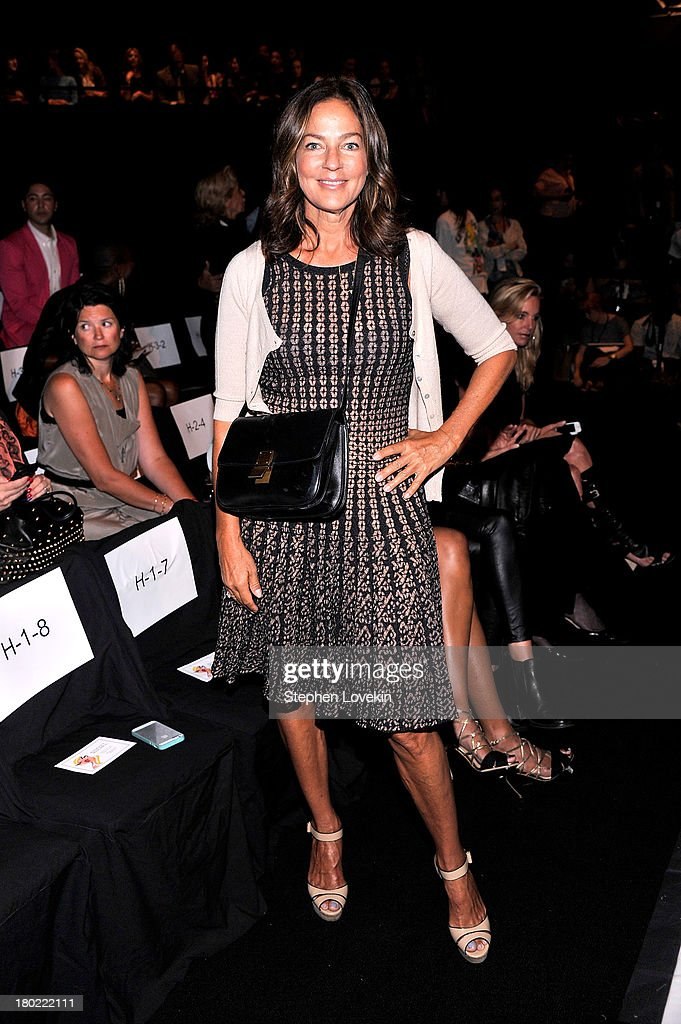 <a gi-track='captionPersonalityLinkClicked' href=/galleries/search?phrase=Kelly+Klein&family=editorial&specificpeople=556225 ng-click='$event.stopPropagation()'>Kelly Klein</a> attends the Badgley Mischka fashion show during Mercedes-Benz Fashion Week Spring at The Theatre at Lincoln Center on September 10, 2013 in New York City.