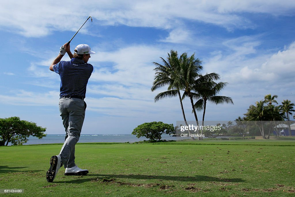 Kelly Kraft of the United States plays a shot during practice rounds prior to the Sony Open In Hawaii at Waialae Country Club on January 10, 2017 in Honolulu, Hawaii.
