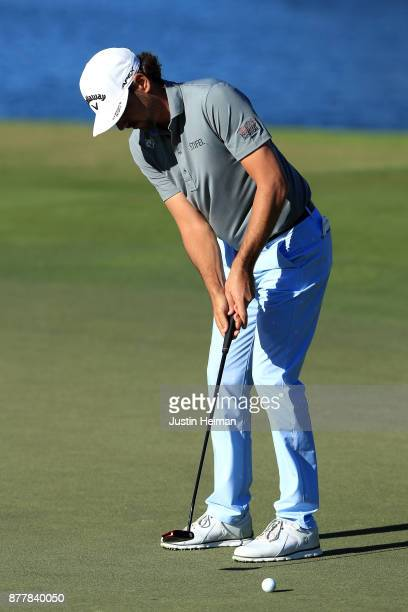 Kelly Kraft of the United States putts on the 18th green during the final round of The RSM Classic at Sea Island Golf Club Seaside Course on November...