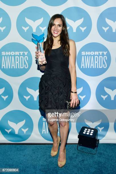 Kelly Landry poses with trophy at The 9th Annual Shorty Awards at PlayStation Theater on April 23 2017 in New York City