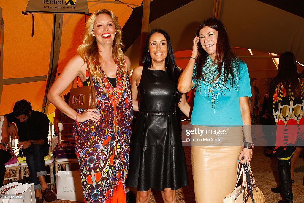 Kelly Landry, Terry Biviano and Marion Malafosse attend the Camilla show during Mercedes-Benz Fashion Week Australia Spring/Summer 2013/14 at Centennial Park on April 10, 2013 in Sydney, Australia.