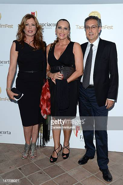 Kelly LeBrock Barbara de Rossi and Mario Sesti attend the Awards Night At Teatro Antico during the 58th Taormina Film Fest on June 27 2012 in...
