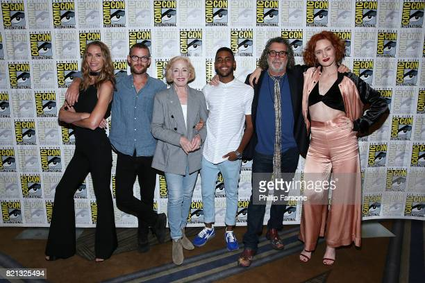 Kelly Lynch Harry Treadaway Holland Taylor Jharrel Jerome Jack Bender and Breeda Wool attend the Stephen King Series 'Mr Mercedes' press line at...