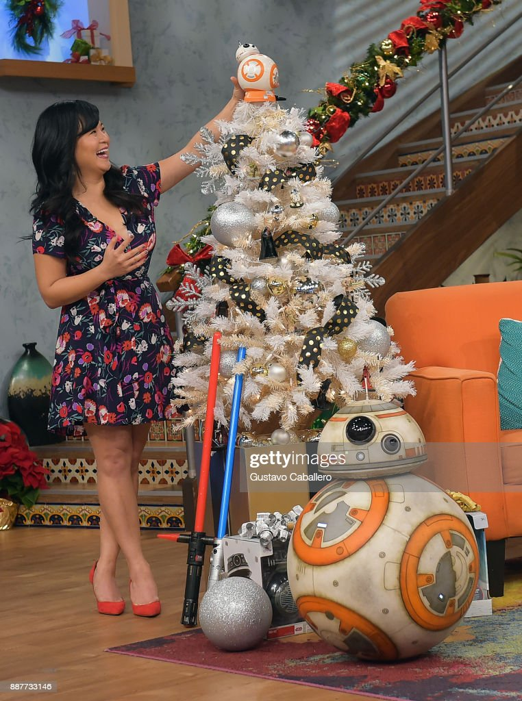 Kelly Marie Tran and BB-8 seen on the set of 'Despierta America' to promote the movie Star Wars: The Last Jedi at Univision Studios on December 7, 2017 in Miami, Florida.