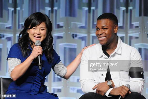 Kelly Marie Tran and John Boyega attend the Star Wars The Last Jedi panel during the 2017 Star Wars Celebration at Orange County Convention Center on...