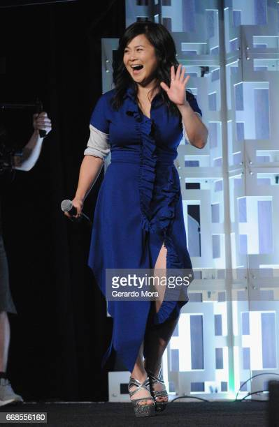 Kelly Marie Tran attends the Star Wars The Last Jedi panel during the 2017 Star Wars Celebration at Orange County Convention Center on April 14 2017...