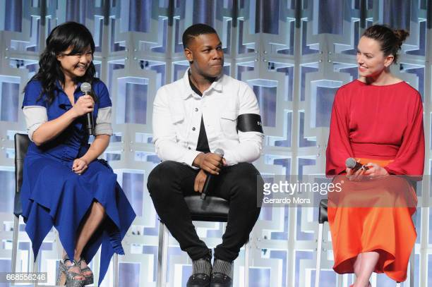 Kelly Marie Tran John Boyega and Daisy Ridley attend the Star Wars The Last Jedi panel during the 2017 Star Wars Celebration at Orange County...