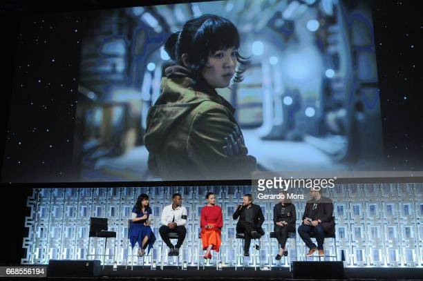 Kelly Marie Tran John Boyega Daisy Ridley Rian Johnson Kathleen Kennedy and Josh Gad attend the Star Wars The Last Jedi panel during the 2017 Star...