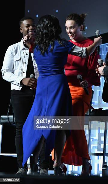 Kelly Marie TranJohn Boyega and Daisy Ridley attends the Star Wars Celebration day 02 on April 14 2017 in Orlando Florida