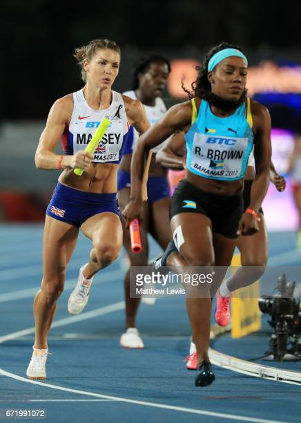 Kelly Massey of Great Britain competes in heat two of the Women's 4 x 400 Meters Relay during the IAAF/BTC World Relays Bahamas 2017 at Thomas...