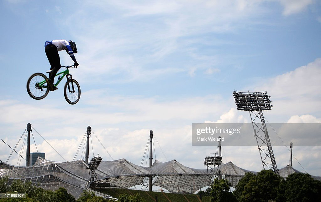 Kelly McGarry of New Zealand trains prior to the Mountain Bike Slopestyle Final competition at Munich Olympic Park on Day 4 of the X-Games on June 30, 2013 in Munich, Germany.