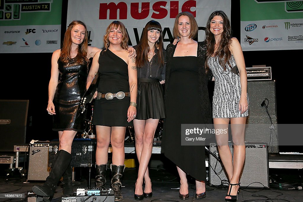 Kelly Mickwee, Brandy Zdan, Savannah Welch, Jamie Lin Griffin Wilson and Liz Foster of The Trishas perform in concert for the Austin Music Awards at the Austin Music Hall during the South By Southwest Music Festival on March 13, 2013 in Austin, Texas.