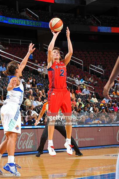 Kelly Miller of the Washington Mystics shoots against the New York Liberty during a game on July 28 2011 at the Prudential Center in Newark New...