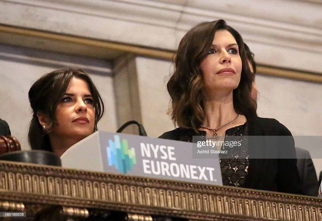 Kelly Monaco and Finola Hughes of ABC's soap opera General Hospital ring the opening bell at the New York Stock Exchange on April 1, 2013 in New York City.