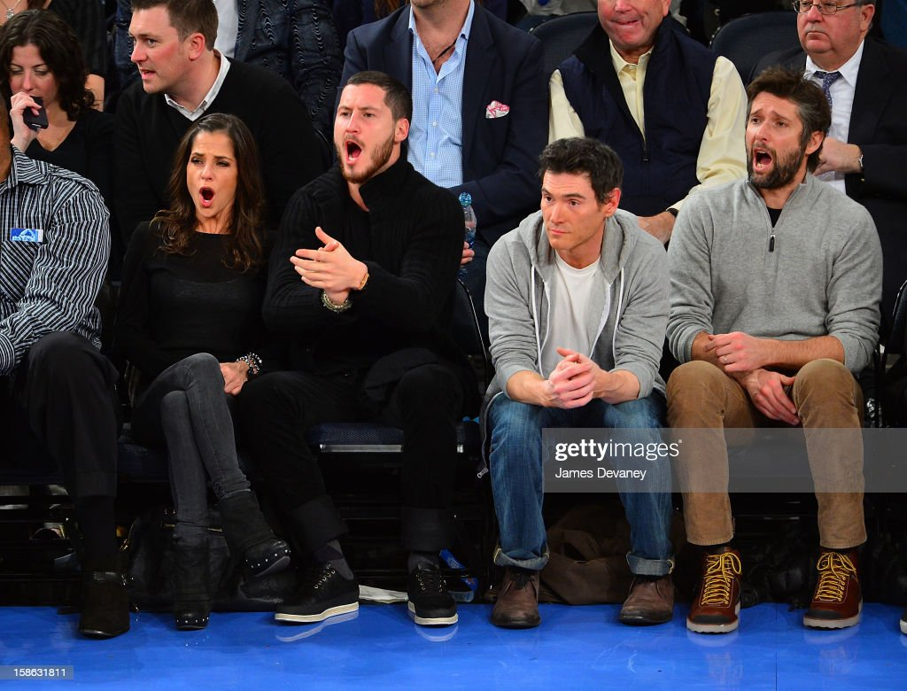 Kelly Monaco, Valentin Chmerkovskiy, Billy Crudup and Bart Freundlich attend the Chicago Bulls vs New York Knicks game at Madison Square Garden on December 21, 2012 in New York City.