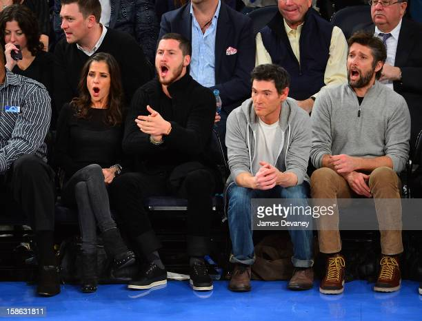Kelly Monaco Valentin Chmerkovskiy Billy Crudup and Bart Freundlich attend the Chicago Bulls vs New York Knicks game at Madison Square Garden on...