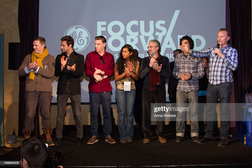 Kelly Nyks, Jared P. Scott, Callum Cooper, Kim Munsamy, Paul Lazarus, Rafel Duran Torrent and Morgan Spurlock at the GE / Focus Forward - Short Films Big Ideas Filmmaker Competition Awards Ceremony - 2013 Park City on January 22, 2013 in Park City, Utah.