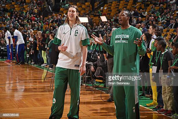 Kelly Olynyk and Gerald Wallace of the Boston Celtics before the game against the Philadelphia 76ers on March 16 2015 at the TD Garden in Boston...
