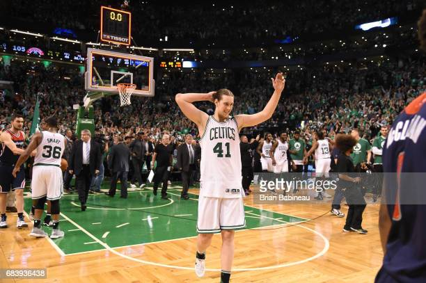 Kelly Olynyk of the Boston Celtics celebrates after Game Seven of the Eastern Conference Semifinals of the 2017 NBA Playoffs on May 15 2017 at TD...