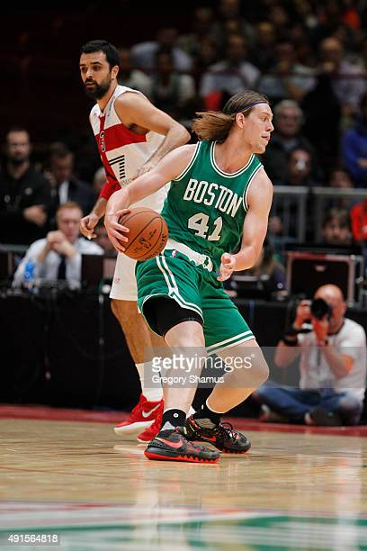 Kelly Olynyk of the Boston Celtics dribbles against Oliver Lafayette of Emporio Armani Milano as part of the 2015 Global Games on October 6 2015 at...