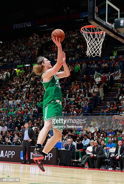 Kelly Olynyk of the Boston Celtics drives to the basket against of Emporio Armani Milano as part of the 2015 Global Games on October 6 2015 at the...
