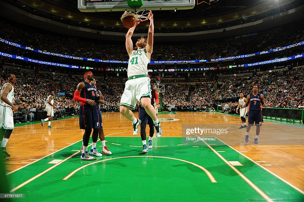 <a gi-track='captionPersonalityLinkClicked' href=/galleries/search?phrase=Kelly+Olynyk&family=editorial&specificpeople=5953512 ng-click='$event.stopPropagation()'>Kelly Olynyk</a> #41 of the Boston Celtics dunks against the Detroit Pistons on March 9, 2014 at the TD Garden in Boston, Massachusetts.
