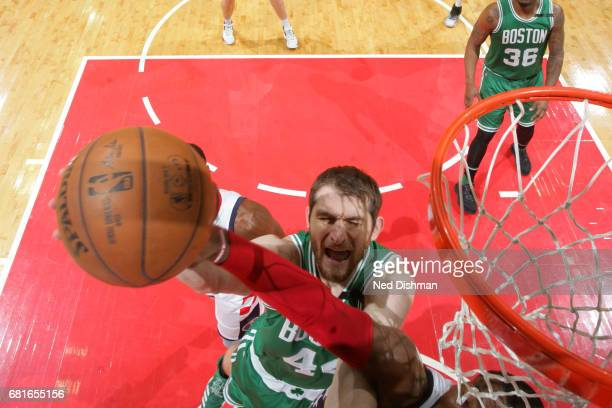 Kelly Olynyk of the Boston Celtics goes to the basket against the Washington Wizards in Game Three of the Eastern Conference Semifinals of the 2017...