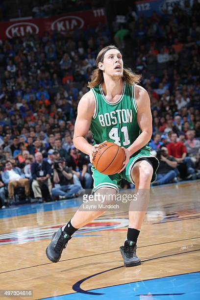 Kelly Olynyk of the Boston Celtics handles the ball against the Oklahoma City Thunder on November 15 2015 at Chesapeake Energy Arena in Oklahoma City...