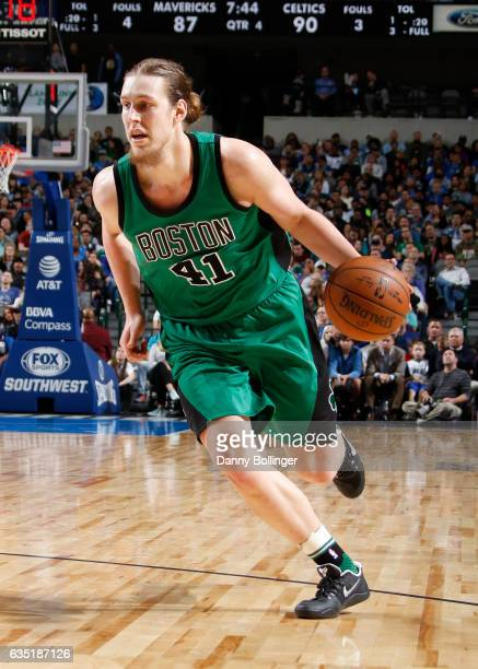 Kelly Olynyk of the Boston Celtics handles the ball during a game against the Dallas Mavericks on February 13 2017 at American Airlines Center in...