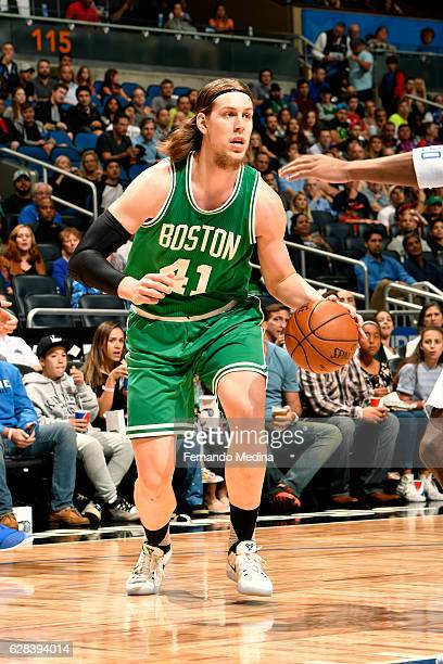 Kelly Olynyk of the Boston Celtics handles the ball during the game against the Orlando Magic on December 7 2016 at Amway Center in Orlando Florida...