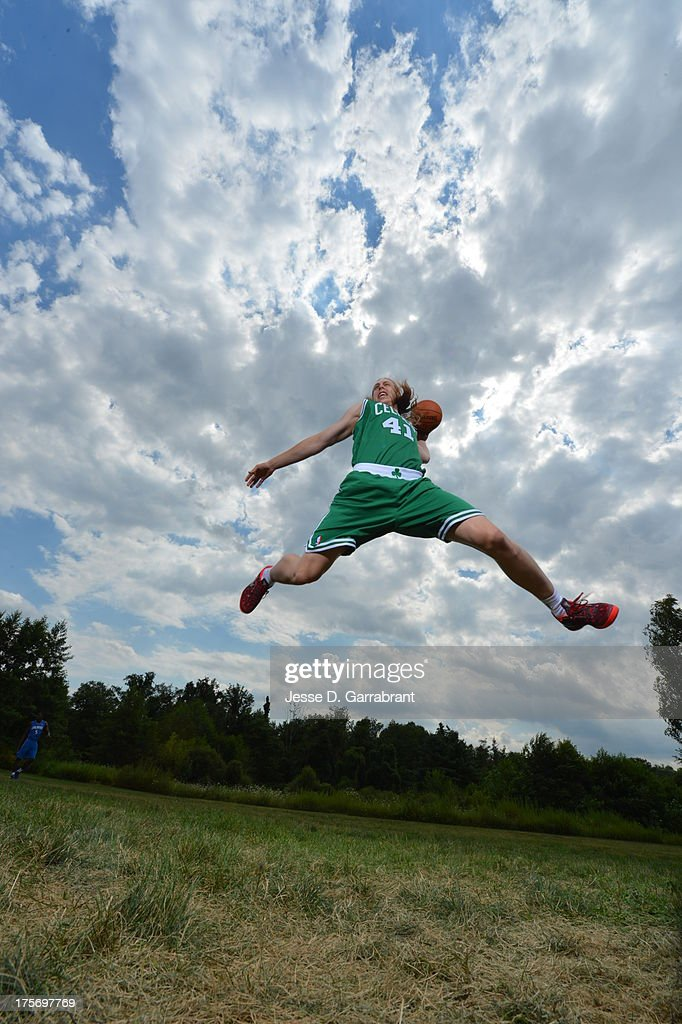 Kelly Olynyk of the Boston Celtics poses for a portrait during the 2013 NBA Rookie Photo Shoot on August 6, 2013 at the MSG Training Facility in Tarrytown, New York.