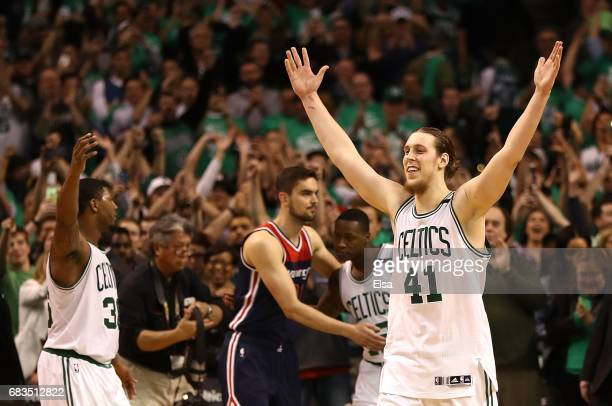Kelly Olynyk of the Boston Celtics reacts after their 115105 win over the Washington Wizards in Game Seven of the NBA Eastern Conference SemiFinals...