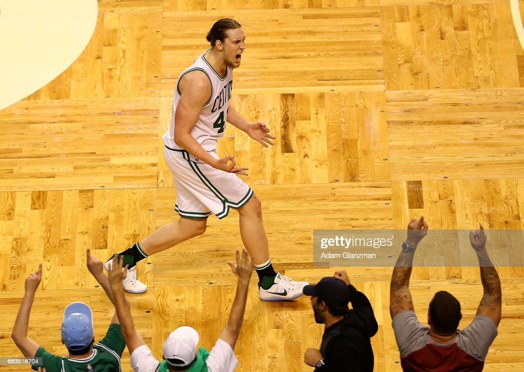 Kelly Olynyk #41 of the Boston Celtics reacts against the Washington Wizards during Game Seven of the NBA Eastern Conference Semi-Finals at TD Garden on May 15, 2017 in Boston, Massachusetts.