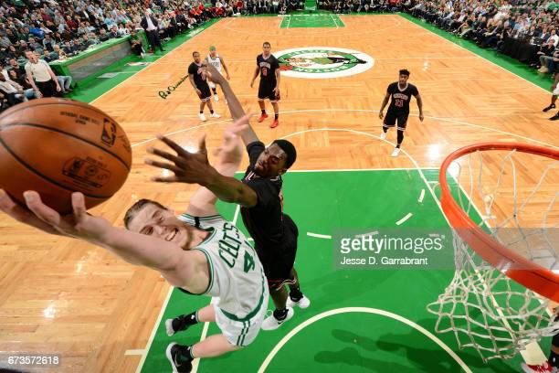 Kelly Olynyk of the Boston Celtics shoots a lay up during the game against the Chicago Bulls in Game Five of the Eastern Conference Quarterfinals of...