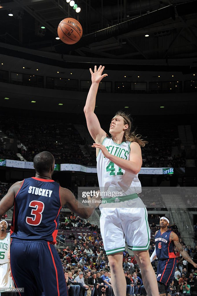 <a gi-track='captionPersonalityLinkClicked' href=/galleries/search?phrase=Kelly+Olynyk&family=editorial&specificpeople=5953512 ng-click='$event.stopPropagation()'>Kelly Olynyk</a> #41 of the Boston Celtics shoots against <a gi-track='captionPersonalityLinkClicked' href=/galleries/search?phrase=Rodney+Stuckey&family=editorial&specificpeople=4375687 ng-click='$event.stopPropagation()'>Rodney Stuckey</a> #3 of the Detroit Pistons on November 3, 2013 at The Palace of Auburn Hills in Auburn Hills, Michigan.