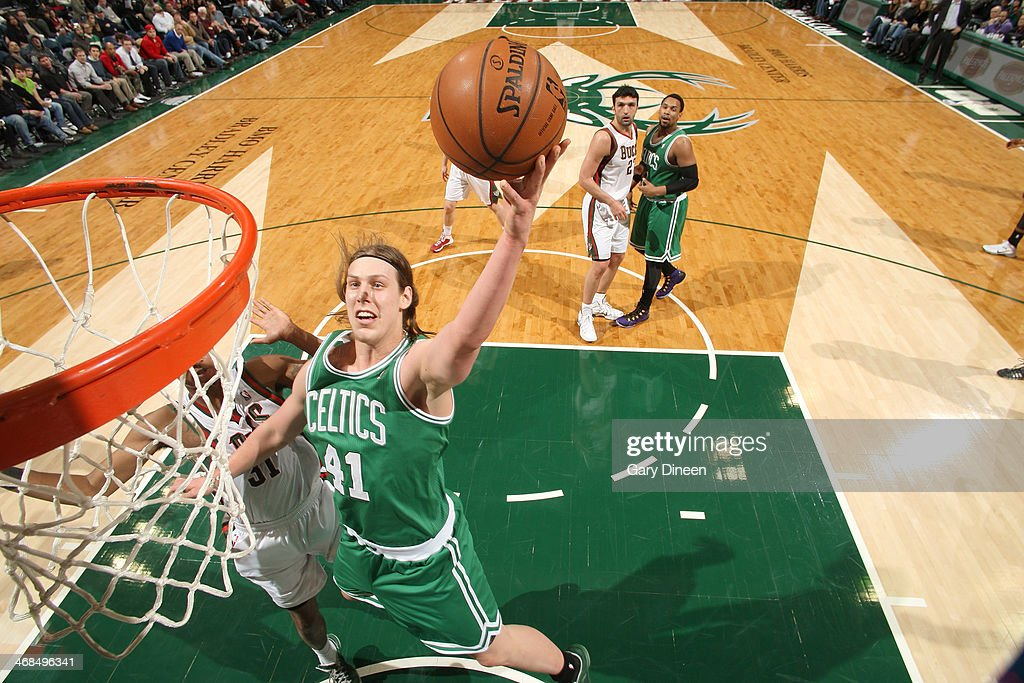 <a gi-track='captionPersonalityLinkClicked' href=/galleries/search?phrase=Kelly+Olynyk&family=editorial&specificpeople=5953512 ng-click='$event.stopPropagation()'>Kelly Olynyk</a> #41 of the Boston Celtics shoots against the Milwaukee Bucks on February 10, 2014 at the BMO Harris Bradley Center in Milwaukee, Wisconsin.