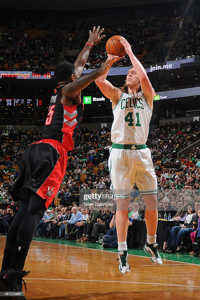 <a gi-track='captionPersonalityLinkClicked' href=/galleries/search?phrase=Kelly+Olynyk&family=editorial&specificpeople=5953512 ng-click='$event.stopPropagation()'>Kelly Olynyk</a> #41 of the Boston Celtics shoots against the Toronto Raptors on March 26, 2014 at the TD Garden in Boston, Massachusetts.