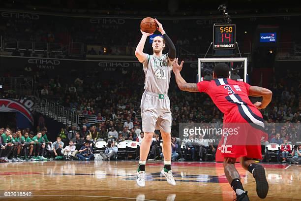 Kelly Olynyk of the Boston Celtics shoots the ball against the Washington Wizards on January 24 2017 at Verizon Center in Washington DC NOTE TO USER...