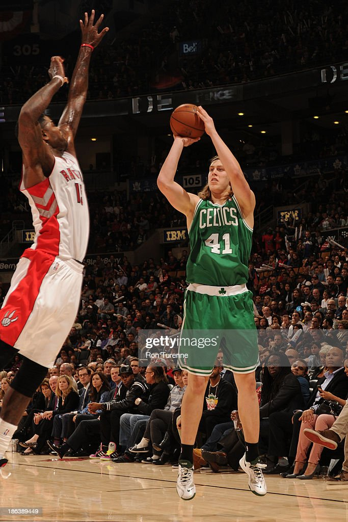 <a gi-track='captionPersonalityLinkClicked' href=/galleries/search?phrase=Kelly+Olynyk&family=editorial&specificpeople=5953512 ng-click='$event.stopPropagation()'>Kelly Olynyk</a> #41 of the Boston Celtics shoots the ball against the Toronto Raptors during the game on October 23, 2013 at the Air Canada Centre in Toronto, Ontario, Canada.