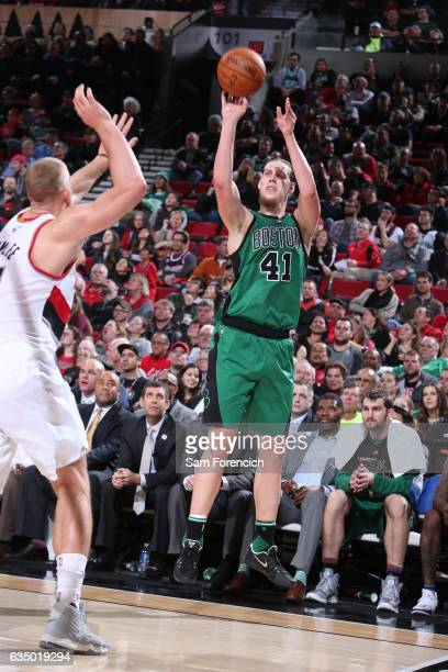 Kelly Olynyk of the Boston Celtics shoots the ball against the Portland Trail Blazers during the game on February 9 2017 at the Moda Center in...