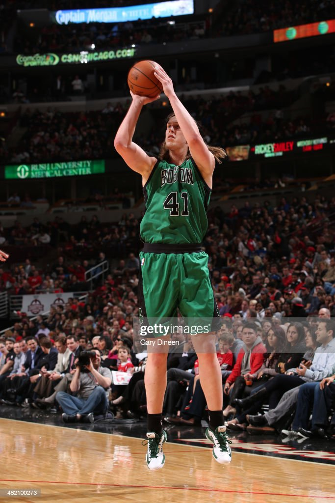 Kelly Olynyk #41 of the Boston Celtics shoots the ball during the game against the Chicago Bulls on March 31, 2014 at the United Center in Chicago, Illinois.