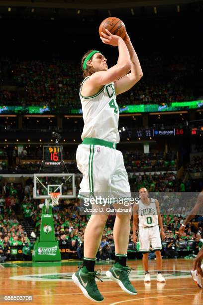 Kelly Olynyk of the Boston Celtics shoots the ball during the game against the Cleveland Cavaliers during Game Five of the Eastern Conference Finals...