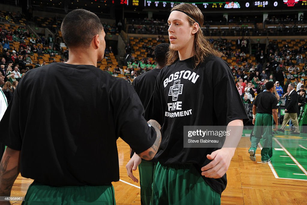 <a gi-track='captionPersonalityLinkClicked' href=/galleries/search?phrase=Kelly+Olynyk&family=editorial&specificpeople=5953512 ng-click='$event.stopPropagation()'>Kelly Olynyk</a> #41 of the Boston Celtics stands on the court before a game against the Chicago Bulls on March 30, 2014 at the TD Garden in Boston, Massachusetts.